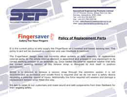 fingersaver policy of replacement parts