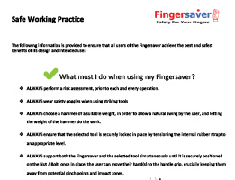 fingersaver safe working practice