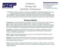 SEP Guidance - Storage and Shelf Life of Elastomer
