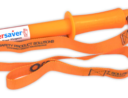 the fingersaver with safety lanyard attached